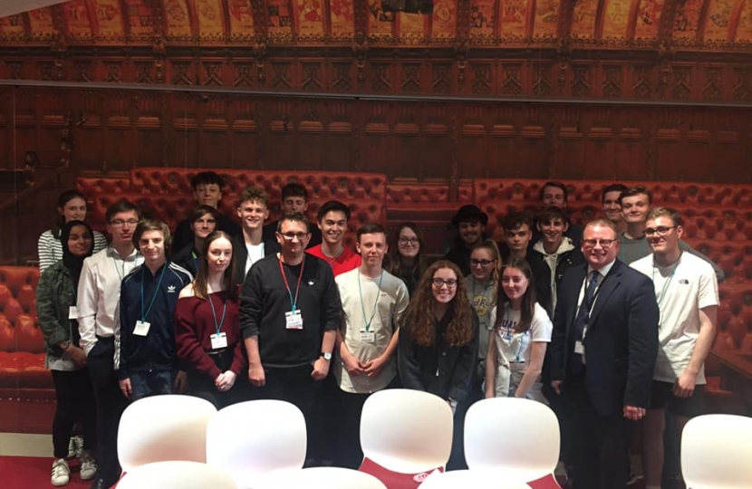 Marcus with students from King Edward Vl Sixth Form College